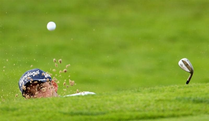 AUCHTERARDER, SCOTLAND - AUGUST 28: David Howell of England on the par four 15th hole during the second round of the Johnnie Walker Championship on the PGA Centenary Course at Gleneagles  on August 28, 2009 in Auchterarder, Scotland.  (Photo by Ross Kinnaird/Getty Images)