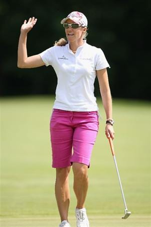 SPRINGFIELD, IL - JUNE 05:  Kris Tamulis waves to fans after making a birdie putt on the eighth hole green during the second round of the LPGA State Farm Classic golf tournament at Panther Creek Country Club on June 5, 2009 in Springfield, Illinois.  (Photo by Christian Petersen/Getty Images)