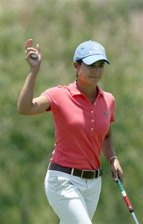 MORELIA, MEXICO- APRIL 25:  Lorena Ochoa of Mexico reacts to a birdie putt on the 5th hole during the thrid round of the Corona Championship at the Tres Marias Residential Golf Club on April 25, 2009 in Morelia, Michoacan, Mexico. (Photo by Donald Miralle/Getty Images)
