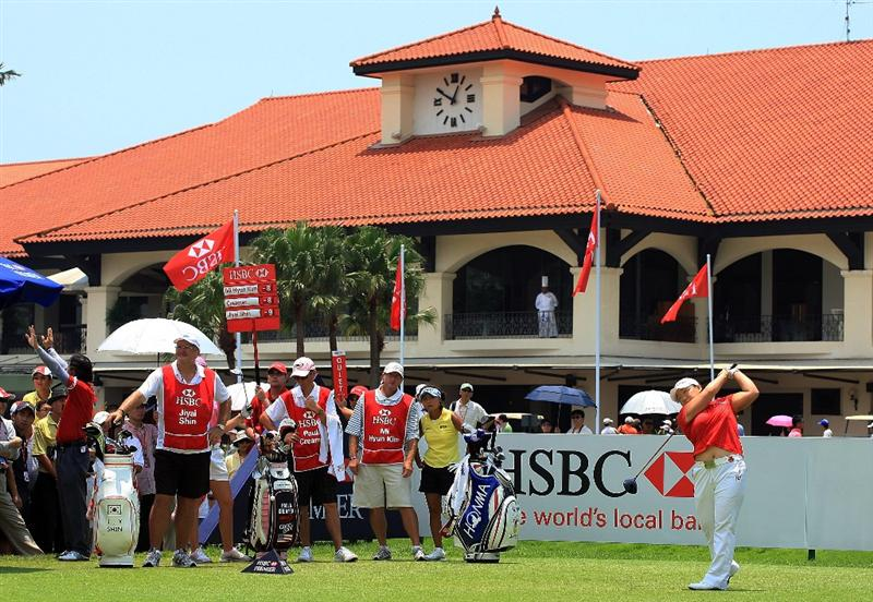 SINGAPORE - MARCH 08:  Jiyai Shin of South Korea hits her tee shot on the tenth hole during the final round of the HSBC Women's Champions at the Tanah Merah Country Club on March 8, 2009 in Singapore  (Photo by Scott Halleran/Getty Images)