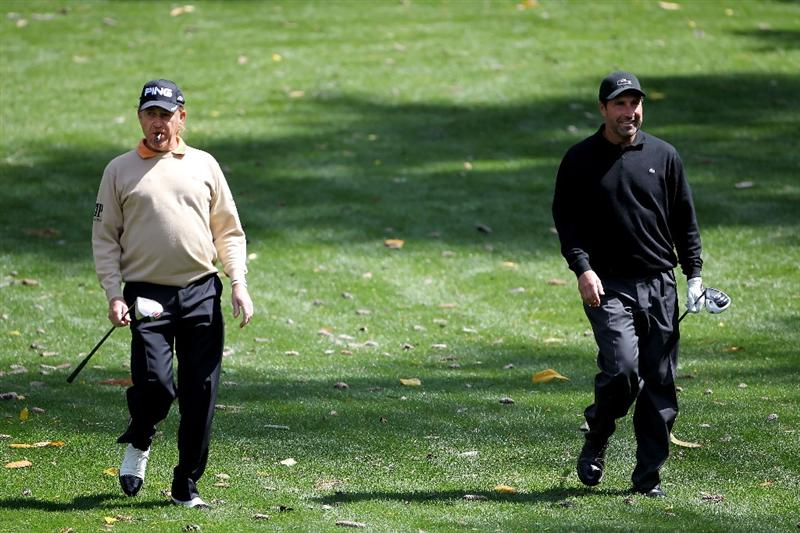 AUGUSTA, GA - APRIL 05:  Miguel Angel Jimenez (L) and Jose Maria Olazabal of Spain walk together during a practice round prior to the 2011 Masters Tournament at Augusta National Golf Club on April 5, 2011 in Augusta, Georgia.  (Photo by Jamie Squire/Getty Images)
