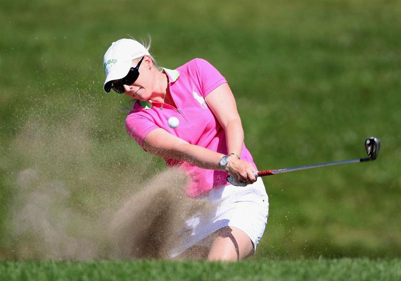 SPRINGFIELD, IL - JUNE 06: Morgan Pressel hits out of the bunker onto the 17th hole green during the third round of the LPGA State Farm Classic golf tournament at Panther Creek Country Club on June 6, 2009 in Springfield, Illinois. (Photo by Christian Petersen/Getty Images)