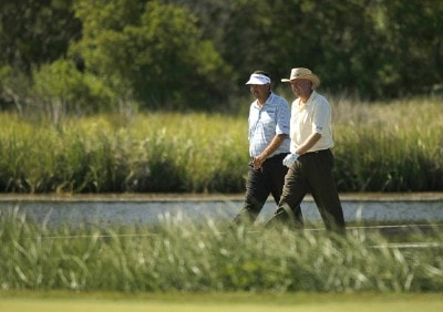 Brad Bryant and Dennis Watson during the 3rd round of the Sr PGA Championship being held at the Ocean Course at Kiawah Island Resort in Kiawah Is, SC on May 26, 2007. Photo by Mike Ehrmann/WireImage.com