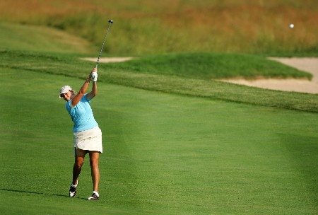 HAVRE DE GRACE, MD - JUNE 07:  Cristie Kerr hits her second shot on the par 5 8th hole during the first round of the McDonalds LPGA Championship at Bulle Rock golf course on June 7, 2007 in Havre de Grace, Maryland.  (Photo by Andy Lyons/Getty Images)