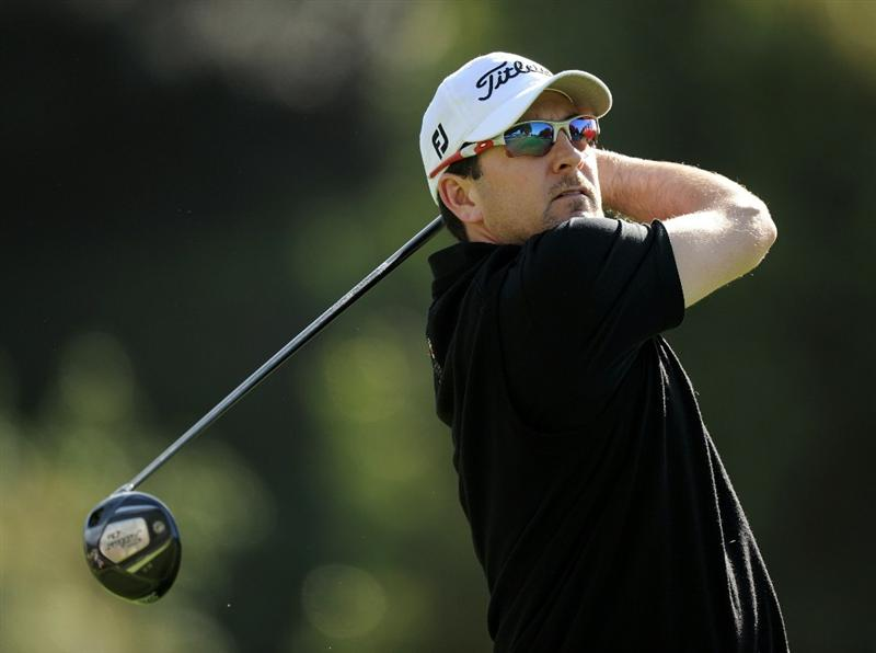 PACIFIC PALISADES, CA - FEBRUARY 19:  Ben Curtis hits a tee shot on the second hole during the third round of the Northern Trust Open at the Riviera Contry Club on February 19, 2011 in Pacific Palisades, California.  (Photo by Harry How/Getty Images)