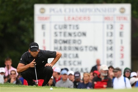 BLOOMFIELD HILLS, MI - AUGUST 10:  Sergio Garcia of Spain lines up his putt on the 15th hole during the final round of the 90th PGA Championship at Oakland Hills Country Club on August 10, 2008 in Bloomfield Township, Michigan.  (Photo by Stuart Franklin/Getty Images)