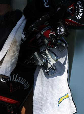 LA JOLLA, CA - JANUARY 30:  A detail of Phil Mickelson's bag during the third round of the 2010 Farmers Insurance Open on January 30, 2010 at Torrey Pines Golf Course in La Jolla, California. (Photo by Donald Miralle/Getty Images)