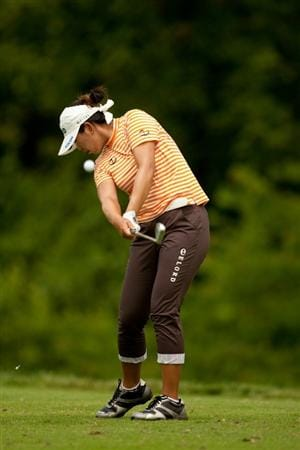 SPRINGFIELD, IL - JUNE 13: Shanshan Feng of China hits a tee shot during the fourth round of the LPGA State Farm Classic at Panther Creek Country Club on June 13, 2010 in Springfield, Illinois. (Photo by Darren Carroll/Getty Images)