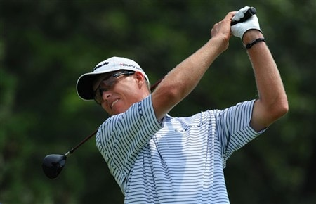 OAKVILLE, ON - JULY 26:  John Senden makes a tee shot on the second hole during the third round of the RBC Canadian Open at the Glen Abbey Golf Club on July 26, 2008 in Oakville, Ontario, Canada.  (Photo by Robert Laberge/Getty Images)
