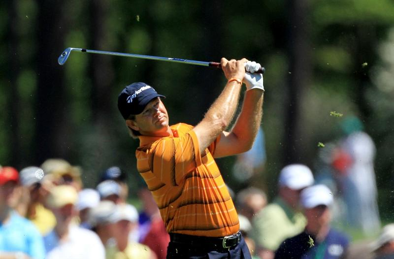 AUGUSTA, GA - APRIL 07:  Retief Goosen of South Africa hits his tee shot on the 12th hole during the first round of the 2011 Masters Tournament at Augusta National Golf Club on April 7, 2011 in Augusta, Georgia.  (Photo by David Cannon/Getty Images)