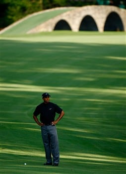 AUGUSTA, GA - APRIL 11:  Tiger Woods waits on the 13th hole during the second round of the 2008 Masters Tournament at Augusta National Golf Club on April 11, 2008 in Augusta, Georgia.  (Photo by Jamie Squire/Getty Images)