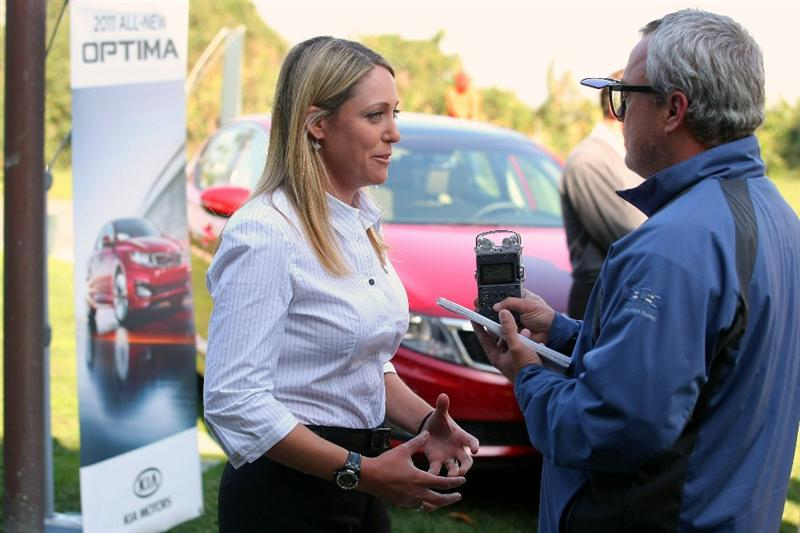 CITY OF INDUSTRY, CA - FEBRUARY 01:  LPGA Player Cristie Kerr answers questions from a member of the media during an interview at Kia Classic Media Day at Pacific Palms Resort on February 1, 2011 in City of Industry, California.  (Photo by Victor Decolongon/Getty Images)