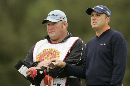 Graeme Storm selects a club during the final round of the 2005 Celtic Manor Wales Open at Celtic Manor's Roman Road course. June 5, 2005Photo by Pete Fontaine/WireImage.com
