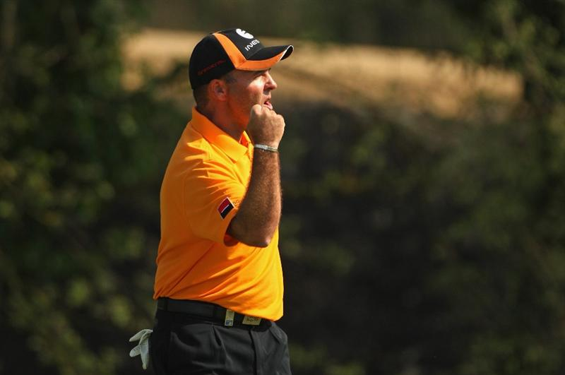 GIRONA, SPAIN - MAY 03:  Thomas Levet of France celebrates a birdie on the 17th green  en-route to winning the Open de Espana on a score of -18 under par at the PGA Golf Catalunya on May 3, 2009 in Girona, Spain.  (Photo by Warren Little/Getty Images)