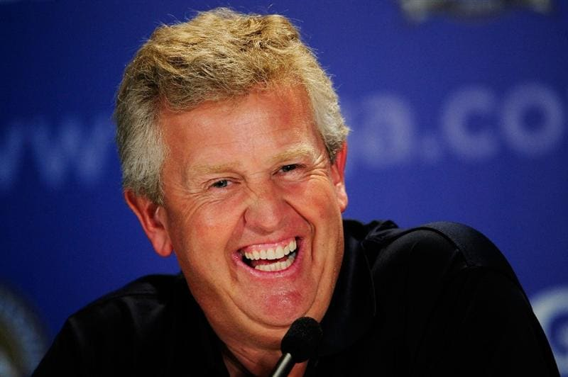 CHASKA, MN - AUGUST 12:  Colin Montgomerie, European Ryder Cup Captain, chats with the media during the third preview day of the 91st PGA Championship at Hazeltine National Golf Club on August 12, 2009 in Chaska, Minnesota.  (Photo by Sam Greenwood/Getty Images)