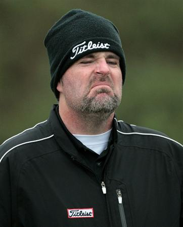 CARNOUSTIE, SCOTLAND - OCTOBER 08:  Kenneth Ferrie of England not liking the weather at the 14th hole during the second round of The Alfred Dunhill Links Championship at Carnoustie Golf Links on October 8, 2010 in Carnoustie, Scotland.  (Photo by David Cannon/Getty Images)