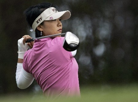 MOBILE, AL - NOVEMBER 10: Mi Hyun Kim of South Korea watches her drive on the 3rd hole during third round play in The Mitchell Company LPGA Tournament of Champions at Magnolia Grove Golf Course on November 10, 2007 in Mobile, Alabama.  (Photo by Dave Martin/Getty Images)