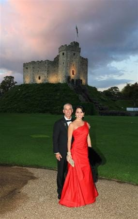CARDIFF, WALES - SEPTEMBER 29:  United States Team captain Corey Pavin with his wife Lisa Pavin during the 2010 Ryder Cup Dinner at Cardiff Castle on September 29, 2010 in Cardiff, Wales. (Photo by David Cannon/Getty Images)