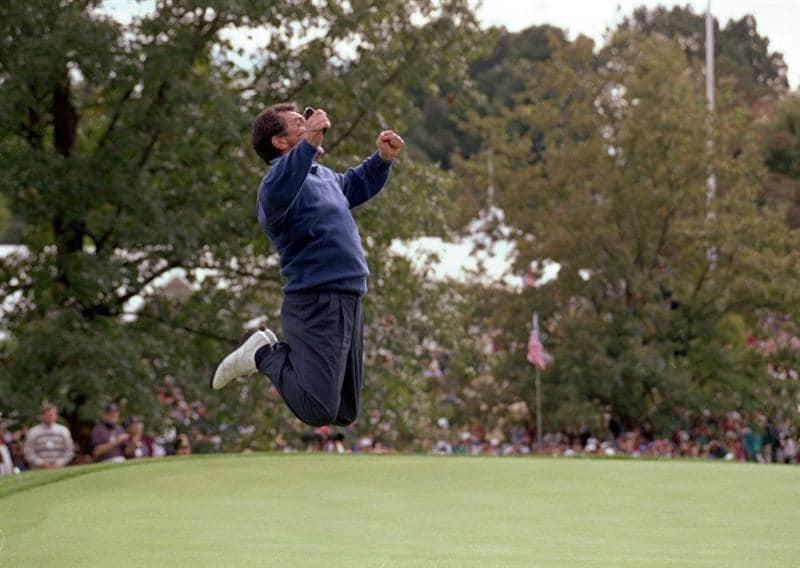 24 Sep 1995:  European team captain Bernard Gallacher celebrates at the moment of victory in the Ryder Cup at Oak Hill Country Club in Rochester, New York, USA.  \ Mandatory Credit: Jon Cuban /Allsport