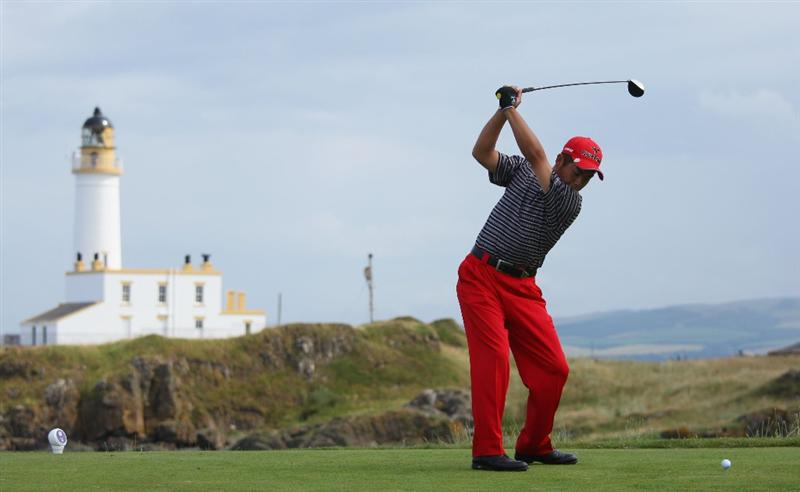 TURNBERRY, SCOTLAND - JULY 16:  Yuta Ikeda of Japan hits his tee shot on the ninth hole during round one of the 138th Open Championship on the Ailsa Course, Turnberry Golf Club on July 16, 2009 in Turnberry, Scotland.  (Photo by Andrew Redington/Getty Images)