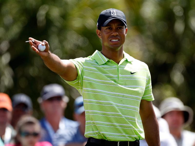 DORAL, FL - MARCH 14:  Tiger Woods checks the wind on the 5th hole during the third round of the World Golf Championships-CA Championship on March 14, 2009 at the Doral Golf Resort and Spa in Miami, Florida.  (Photo by Jamie Squire/Getty Images)