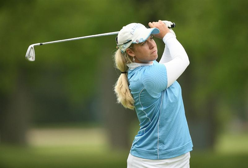 CLIFTON, NJ - MAY 16 : Brittany Lincicome hits her second shot on the 12th hole during the third round of the Sybase Classic presented by ShopRite at Upper Montclair Country Club on May 16, 2009 in Clifton, New Jersey. (Photo by Hunter Martin/Getty Images)