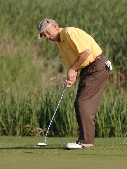 Pete Oakley putts on the seventh green during the first round of the 2005 Liberty Mutual Legends of Golf tournament at the Westin Savannah Harbor Golf Resort & Spa on April 22, 2005 in Savannah, Georgia.Photo by Al Messerschmidt/WireImage.com