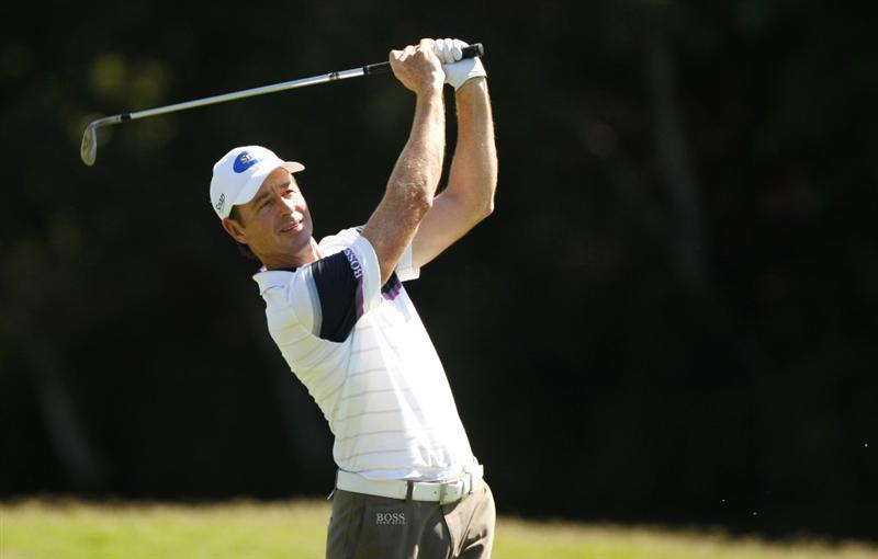 COOLUM BEACH, AUSTRALIA - DECEMBER 04: Brett Rumford of Australia plays a shot during day one of the Australian PGA Championship at the Hyatt Regency Resort on December 4, 2008 at Coolum Beach, Australia. (Photo by Cameron Spencer/Getty Images)