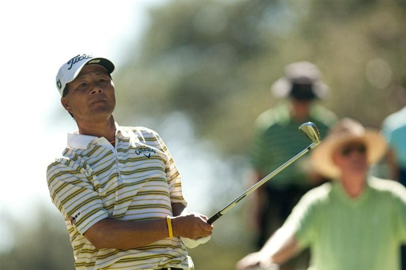 SAN ANTONIO, TX - OCTOBER 29: Chien Soon Lu of Taiwan follows through on a tee shot during the first round of the AT&T Championship at Oak Hills Country Club on October 29, 2010 in San Antonio, Texas. (Photo by Darren Carroll/Getty Images)