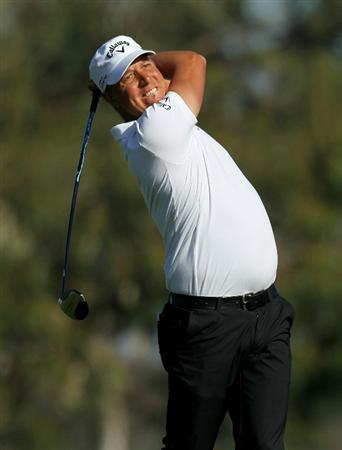 LA JOLLA, CA - JANUARY 29:  Fredrik Jacobson of Sweden hits his tee shot on the second hole during round three of the Farmers Insurance Open at Torrey Pines South Course on January 29, 2011 in La Jolla, California.  (Photo by Stephen Dunn/Getty Images)