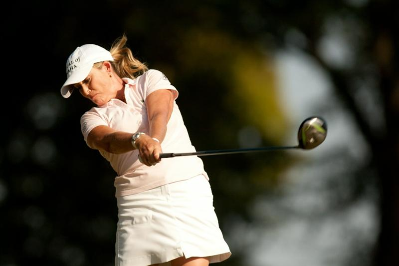 PRATTVILLE, AL - OCTOBER 10: Cristie Kerr follows through on a tee shot during the final round of the Navistar LPGA Classic at the Senator Course at the Robert Trent Jones Golf Trail on October 10, 2010 in Prattville, Alabama. (Photo by Darren Carroll/Getty Images)