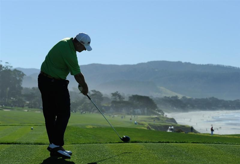 PEBBLE BEACH, CA - FEBRUARY 11:  Bill Lunde plays his tee shot on the 10th hole during the second round of the AT&T Pebble Beach National Pro-Am at the Pebble Beach Golf Links on February 11, 2011  in Pebble Beach, California  (Photo by Stuart Franklin/Getty Images)