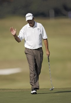 Bart Bryant reacts after making a birdie on the fourth green during the final round of THE TOUR Championship at East Lake Golf Club in Atlanta, Georgia on November 6, 2005.Photo by Hunter Martin/WireImage.com