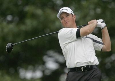 Ted Purdy hits his tee shot on the 14th hole during the third round of the 84 LUMBER Classic held on the Mystic Rock Course at Nemacolin Woodlands Resort & Spa in Farmington, Pennsylvania, on September 16, 2006.Photo by Hunter Martin/WireImage.com