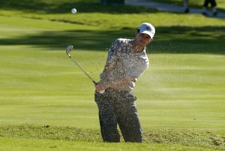 Mike Weir blasts from the sand on the fourth  hole during third-round competition March 5, 2005  at the Ford Championship at Doral in Miami.