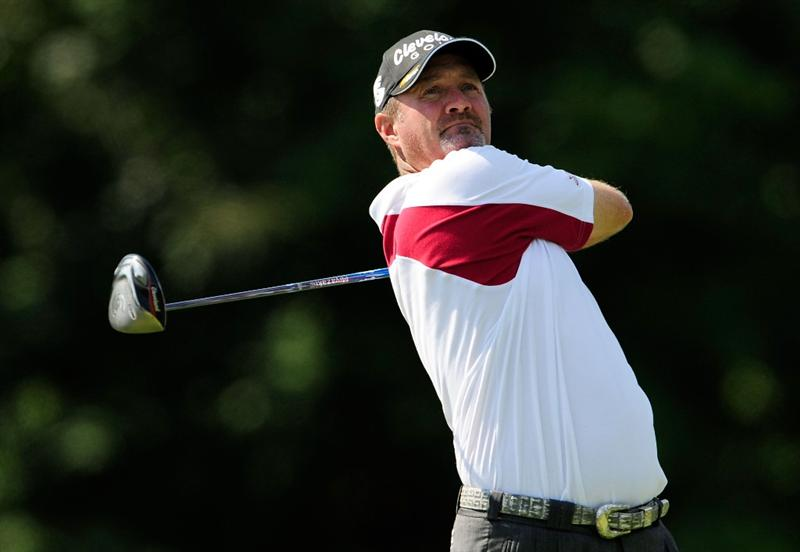 AKRON, OH - AUGUST 06:  Jerry Kelly hits a shot on the 5th hole during the first round of the WGC-Bridgestone Invitational on the South Course at Firestone Country Club on August 6, 2009 in Akron, Ohio.  (Photo by Sam Greenwood/Getty Images)