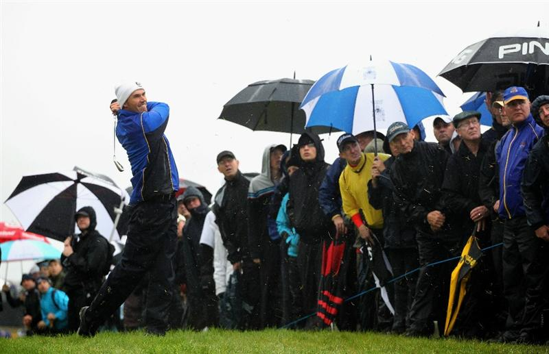NEWPORT, WALES - OCTOBER 01:  Padraig Harrington of Europe hits a shot from the rough on the second hole during the Morning Fourball Matches during the 2010 Ryder Cup at the Celtic Manor Resort on October 1, 2010 in Newport, Wales.  (Photo by Jamie Squire/Getty Images)