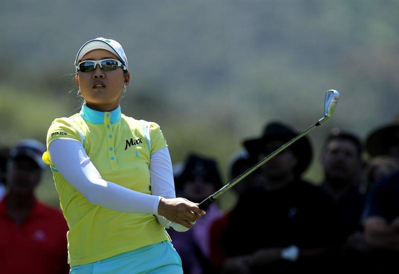 CARLSBAD, CA - MARCH 28:  Hee Kyung Seo of South Korea watches her tee shot on the second hole during the final round of the Kia Classic Presented by J Golf at La Costa Resort and Spa on March 28, 2010 in Carlsbad, California.  (Photo by Stephen Dunn/Getty Images)