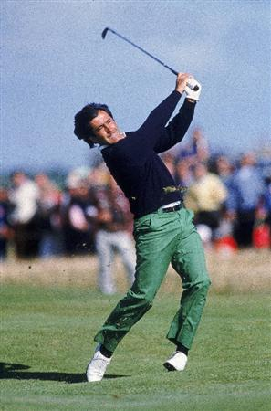 Jul 1988:  Seve Ballesteros in full cry during the British Open at Royal Lytham St Annes Golf Course in England. Ballesteros went on to win the Open title.  \ Mandatory Credit: Dave Cannon /Allsport
