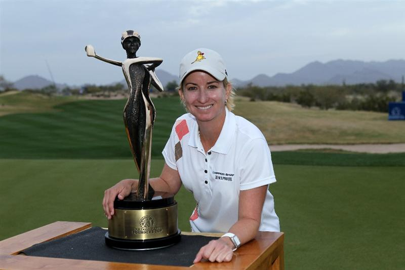 PHOENIX, AZ - MARCH 20:  Karrie Webb of Australia poses with the championship trophy after the final round of the RR Donnelley LPGA Founders Cup at Wildfire Golf Club on March 20, 2011 in Phoenix, Arizona.  (Photo by Stephen Dunn/Getty Images)