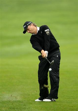 SAN FRANCISCO - NOVEMBER 07:  Bernhard Langer of Germany hits his second shot on the 5th hole during the final round of the Charles Schwab Cup Championship at Harding Park Golf Course on November 7, 2010 in San Francisco, California.  (Photo by Ezra Shaw/Getty Images)