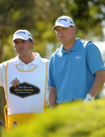 LAS VEGAS - OCTOBER 17:   Chad Campbell looks over the 8th hole with his caddy during the third round of the Justin Timberlake Shriners Hospitals for Children Open at the TPC Summerlin on October 17, 2009  in Las Vegas, Nevada. (Photo by Marc Feldman/Getty Images)