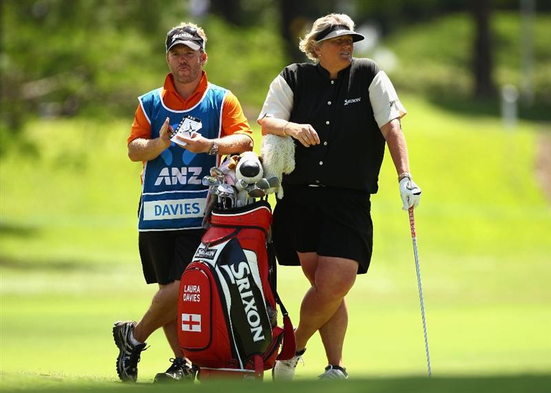 GOLD COAST, AUSTRALIA - MARCH 04:  Laura Davies of England plays waits to play her shot on the 8th hole during round one of the 2010 ANZ Ladies Masters at Royal Pines Resort on March 4, 2010 in Gold Coast, Australia.  (Photo by Ryan Pierse/Getty Images)