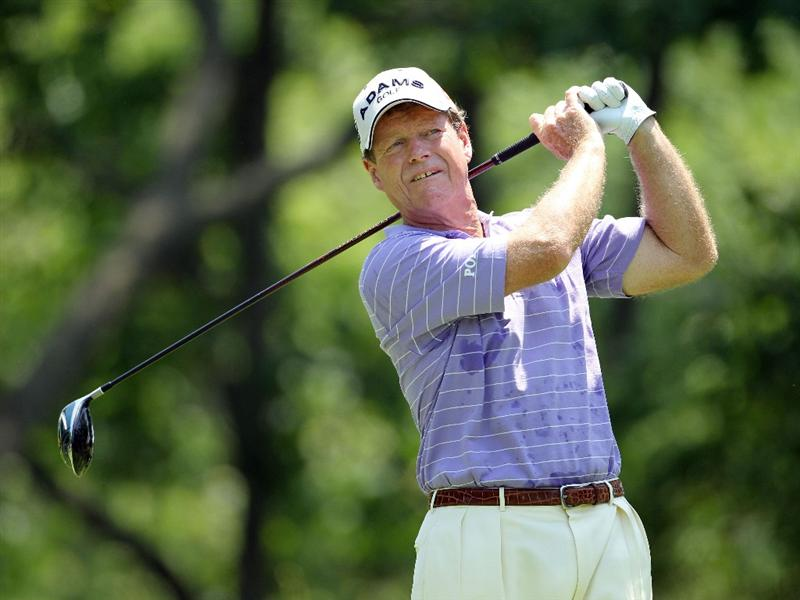 LOUISVILLE, KY - MAY 29:  Tom Watson hits his tee shot on the par 5 2nd hole during the Senior PGA Championship presented by KitchenAid at Valhalla Golf Club on May 29, 2011 in Louisville, Kentucky.  He won in a one hole playoff over David Eger .  (Photo by Andy Lyons/Getty Images)