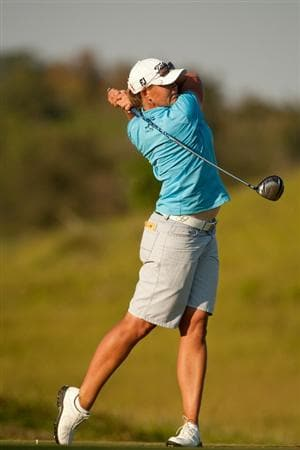 PRATTVILLE, AL - OCTOBER 10: Katherine Hull of Australia follows through on a tee shot during the final round of the Navistar LPGA Classic at the Senator Course at the Robert Trent Jones Golf Trail on October 10, 2010 in Prattville, Alabama. (Photo by Darren Carroll/Getty Images)
