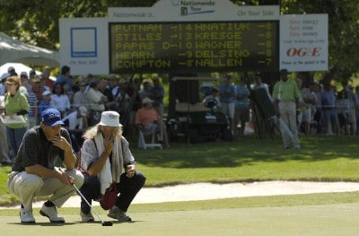 Darron Stiles and his caddie reflect on his upcoming putt which tied him for the lead on the last hole during the fourth and final round of the Rheem Classic presented by Times Record held at Hardscrabble Country Club in Fort Smith, Arkansas, on May 14, 2006.Photo by Steve Levin/WireImage.com