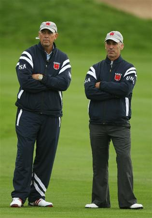 NEWPORT, WALES - OCTOBER 01:  USA Team Captain Corey Pavin looks on with Vice Captain Tom Lehman (L) during the Morning Fourball Matches during the 2010 Ryder Cup at the Celtic Manor Resort on October 1, 2010 in Newport, Wales.  (Photo by Ross Kinnaird/Getty Images)