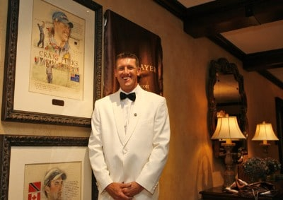 Craig Perks poses beside his portrait by Connecticut illustrator Chris Duke in the new clubhouse during of THE PLAYERS Championship at TPC Sawgrass in Ponte Vedra Beach, Florida, on May 8, 2007. Photo by: Caryn Levy/PGA TOURPhoto by: Caryn Levy/PGA TOUR