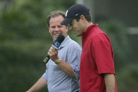 Carson Daly talks to Dave Marr of the Golf Channel as he competes in the first round of the Champions Tour Outback Steakhouse Pro-Am at the TPC at Tampa Bay in Lutz, FL