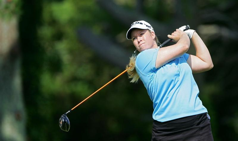GALLOWAY, NJ - JUNE 18: Brittany Lincicome watches her drive during the second round of the ShopRite LPGA Classic held at Dolce Seaview Resort (Bay Course) on June 18, 2010 in Galloway, New Jersey.  (Photo by Michael Cohen/Getty Images)